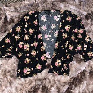Forever 21 Black Kimono Pink Floral